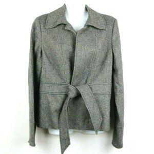 J Crew Womens Coat Blazer Long Sleeve Tie Chevron